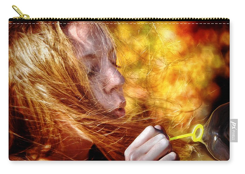 Bubbles Carry-all Pouch featuring the painting Colors Of The Wind by Tom Bell