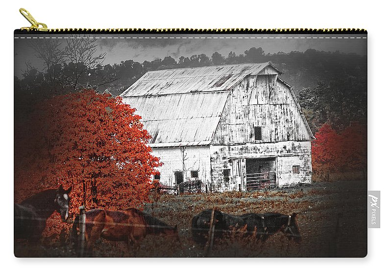 Barn Carry-all Pouch featuring the photograph Coming In by Randall Branham