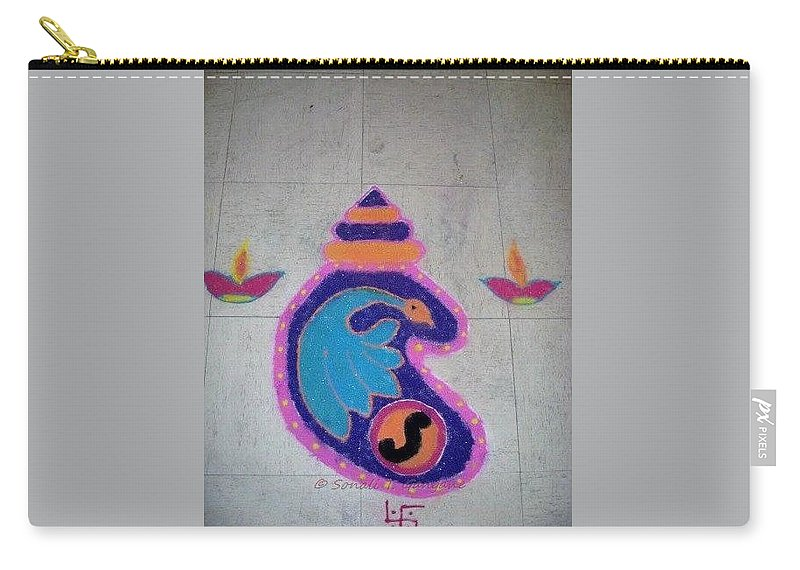 Conch Shell Creation Carry-all Pouch featuring the mixed media Conch Design Rangoli by Sonali Gangane