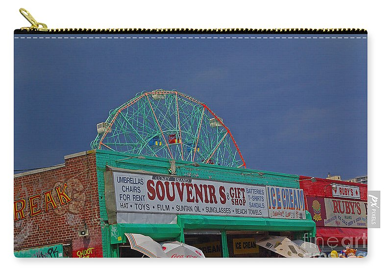 New York Carry-all Pouch featuring the photograph Coney Island Facades by Rich Walter