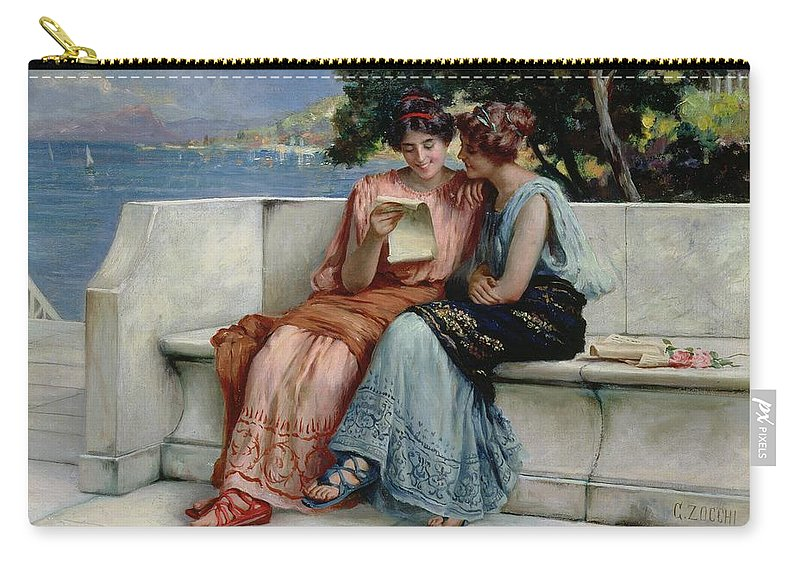 Female; Friends; Sharing; Secret; Letter; Confiding; Classical Costume; Coast; C19th; C20th; Mediterranean Landscape; Friendship; Laughing Carry-all Pouch featuring the painting Confidences by Guglielmo Zocchi