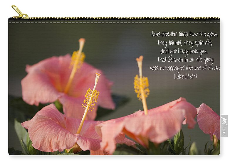 Peach Carry-all Pouch featuring the photograph Consider The Lilies How They Grow by Kathy Clark