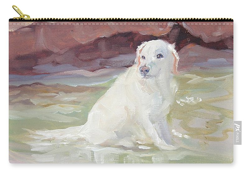 White Labrador Carry-all Pouch featuring the painting Cooling Off by Sheila Wedegis