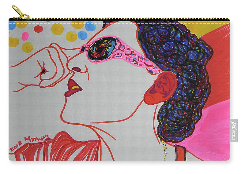 Woman Carry-all Pouch featuring the drawing Coolpic by Marwan George Khoury