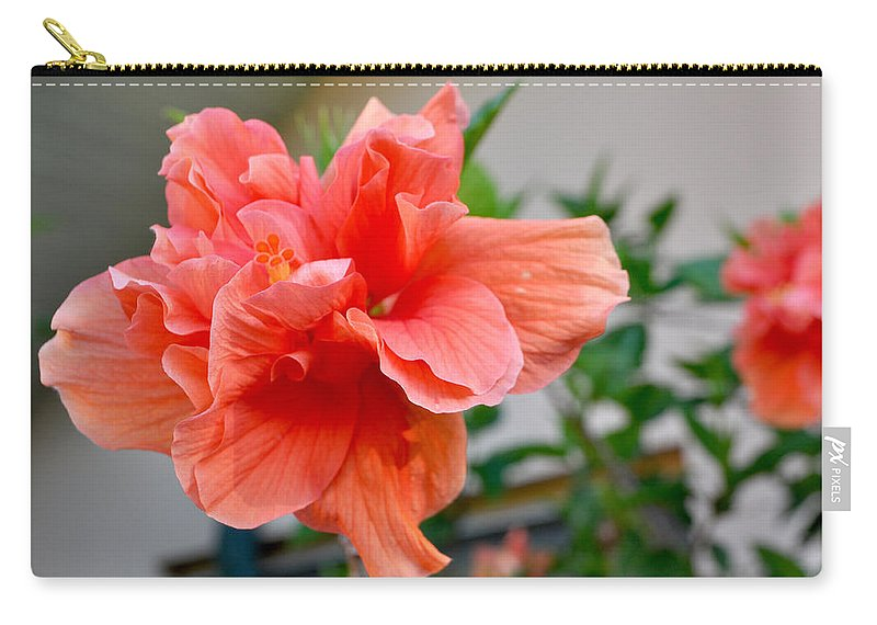 Hibiscus Carry-all Pouch featuring the photograph Coral Hibiscus by Mickey Krause
