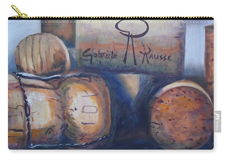 Cork Carry-all Pouch featuring the painting Corks by Donna Tuten