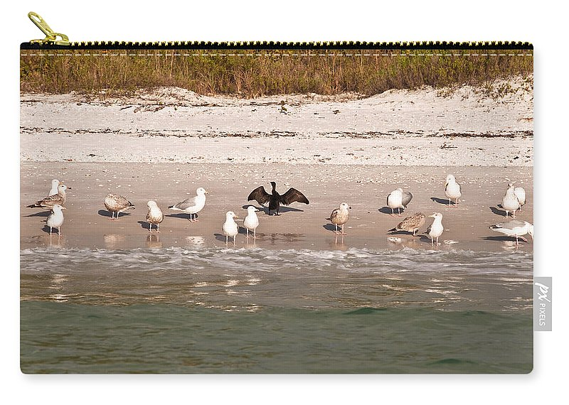 Cormarant Carry-all Pouch featuring the photograph Cormorant Stands Out by Christine Stonebridge