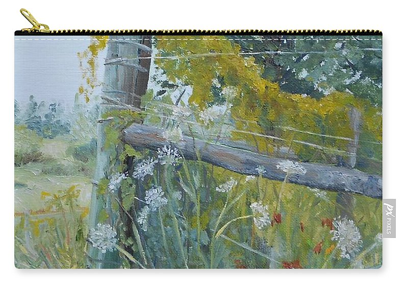 Lush Greens Carry-all Pouch featuring the painting Corner Of Lace And Vine by Susan Hanna
