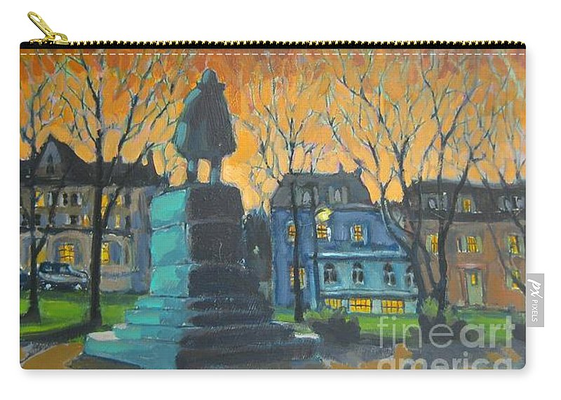Carry-all Pouch featuring the painting Cornwallace Statue by John Malone