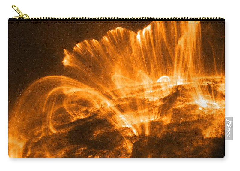 Sun Carry-all Pouch featuring the photograph Coronal Rain, Solar Storm by Nasa