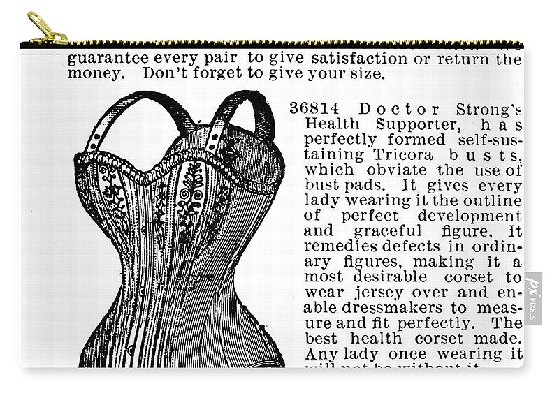 1895 Carry-all Pouch featuring the photograph Corset Advertisement, 1895 by Granger