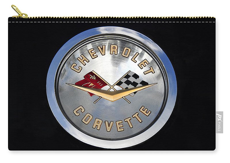 Fine Art Photography Carry-all Pouch featuring the photograph Corvette Name Plate by David Lee Thompson