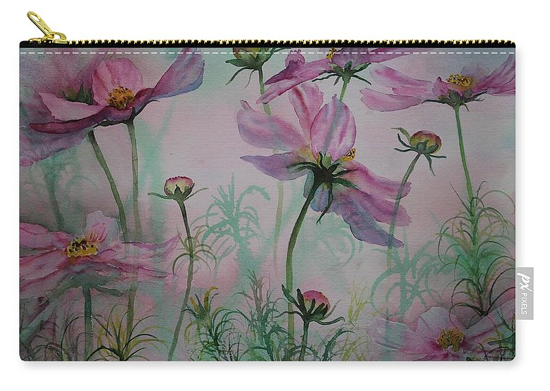 Flowers Carry-all Pouch featuring the painting Cosmos by Ruth Kamenev