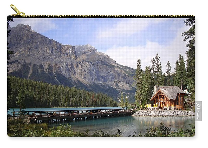 Cabin Carry-all Pouch featuring the photograph Crossing Emerald Lake Bridge - Yoho Nat. Park, Canada by Ian Mcadie