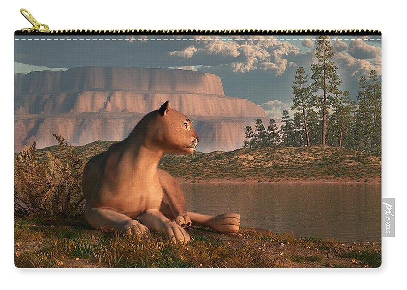 Cougar Carry-all Pouch featuring the digital art Cougar At Evening by Daniel Eskridge