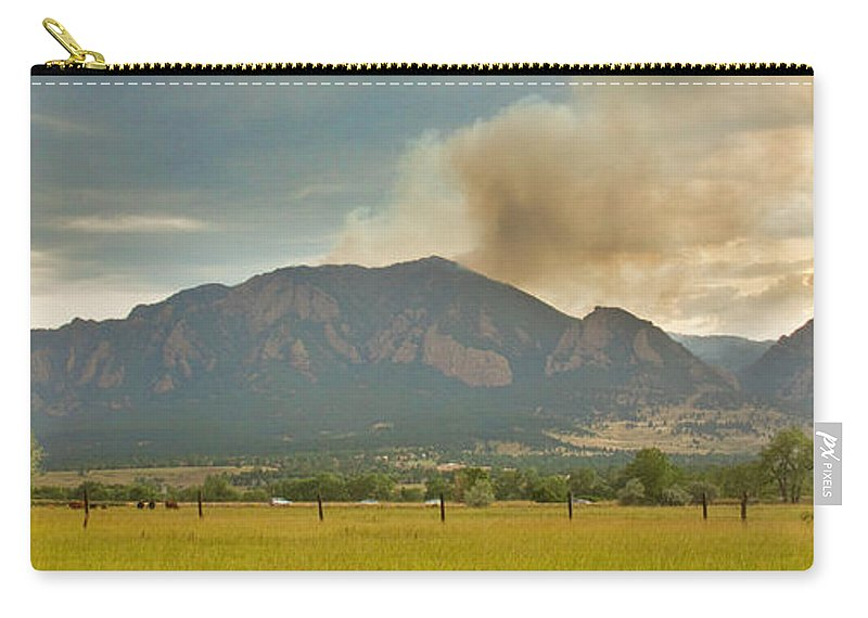 Flagstaff Fire Carry-all Pouch featuring the photograph Country View Of The Flagstaff Fire Panorama by James BO Insogna
