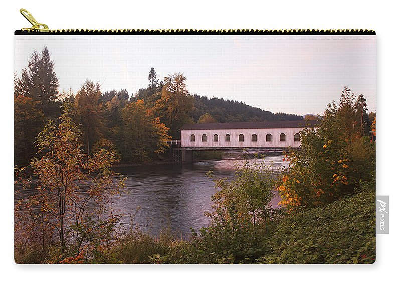 Nature Carry-all Pouch featuring the photograph Covered Bridge At Dawn No. 1 by Belinda Greb
