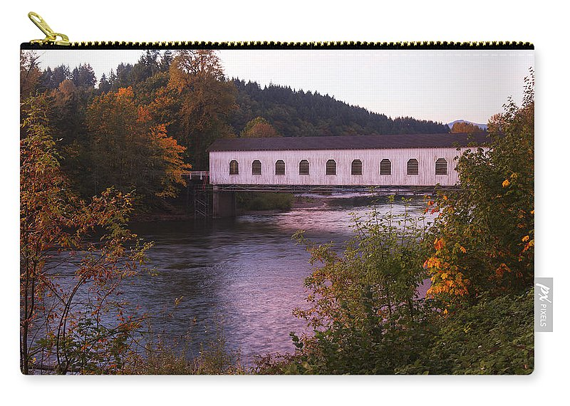 Covered Bridge Carry-all Pouch featuring the photograph Covered Bridge At Dawn No. 2 by Belinda Greb