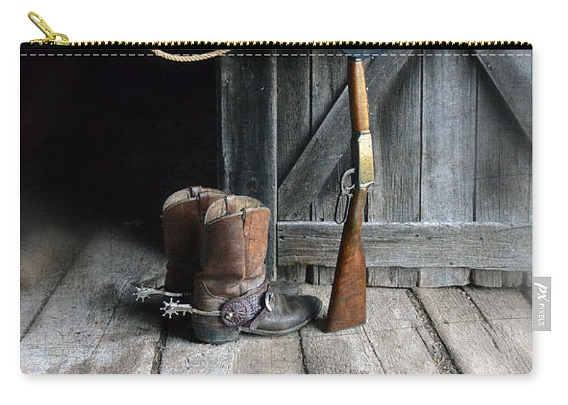 Cowboy Boots Carry-all Pouch featuring the photograph Cowboy Hat Boots Lasso And Rifle by Jill Battaglia