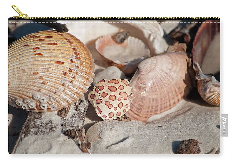 Shells Carry-all Pouch featuring the photograph Crab Shell by Christine Stonebridge