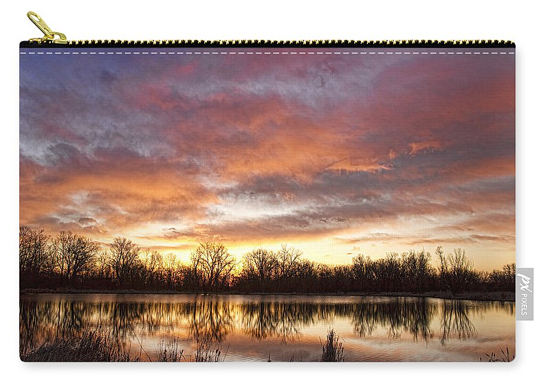 Awesome Carry-all Pouch featuring the photograph Crane Hollow Sunrise Reflections by James BO Insogna