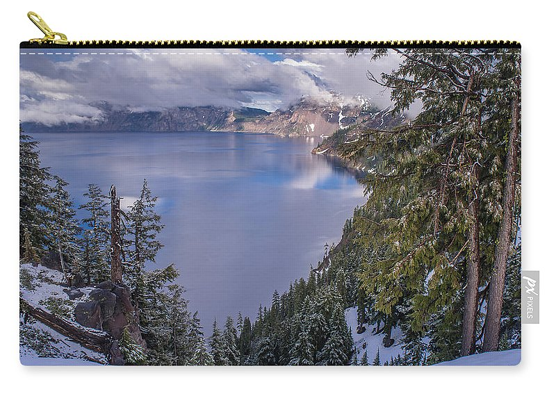 Crater Lake Carry-all Pouch featuring the photograph Crater Lake And Approaching Clouds by Greg Nyquist