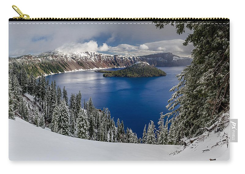 Crater Lake Carry-all Pouch featuring the photograph Crater Lake And Fresh Snow Panorama by Greg Nyquist