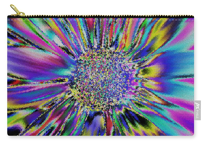 Nature Carry-all Pouch featuring the digital art Crazy Daisy I by Debbie Portwood