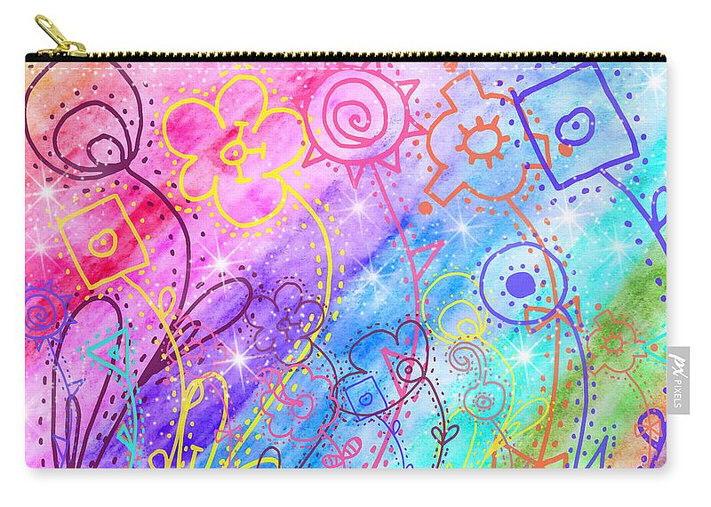 Watercolor Carry-all Pouch featuring the painting Crazy Flower Garden by Debbie Portwood