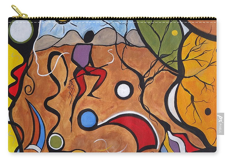 Landscape Carry-all Pouch featuring the painting Crazy Rain Dance by Ruth Palmer