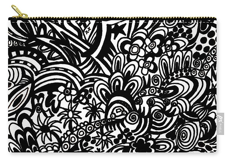 Black And White Carry-all Pouch featuring the drawing Crazy World We Live In by Karen Elzinga