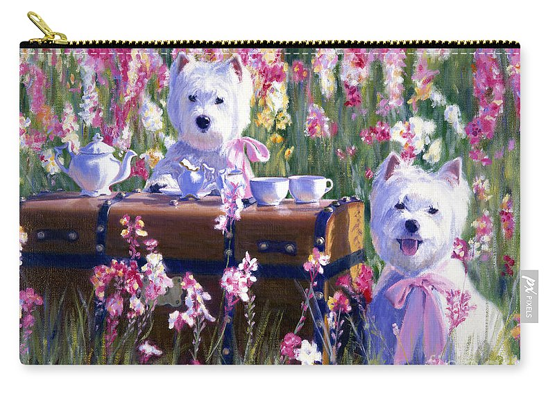 West Highland Terrier Carry-all Pouch featuring the painting Cream And Sugar by Candace Lovely