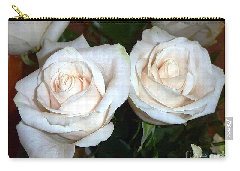 Creamy Carry-all Pouch featuring the photograph Creamy Roses I by Alys Caviness-Gober