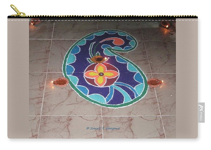 Colorful Rangoli Carry-all Pouch featuring the drawing Creation by Sonali Gangane