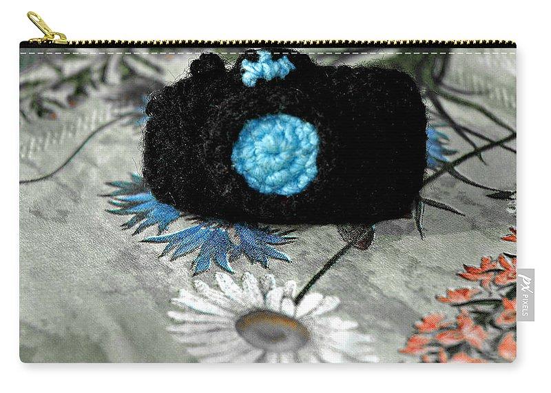 Usa Carry-all Pouch featuring the photograph Crochet Camera Bw by LeeAnn McLaneGoetz McLaneGoetzStudioLLCcom
