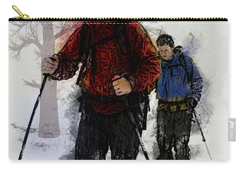 Ski Carry-all Pouch featuring the painting Cross Country Skiers by Elaine Plesser