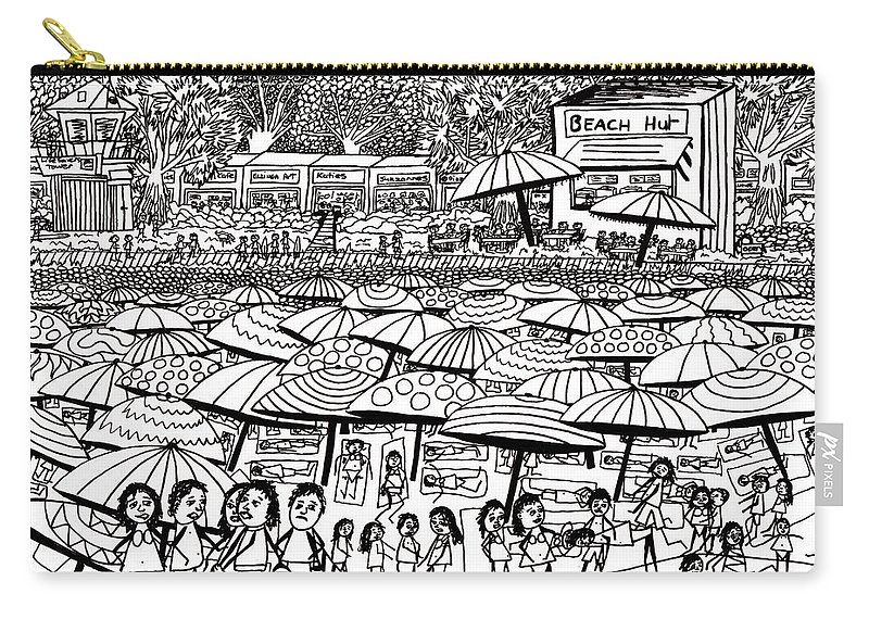 Beach Carry-all Pouch featuring the drawing Crowded Beach Black And White by Karen Elzinga