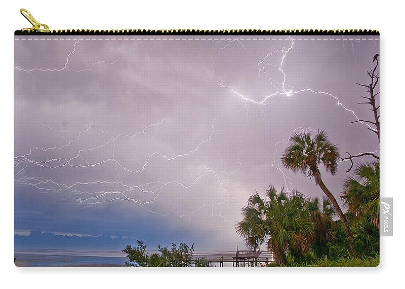 Lightning Carry-all Pouch featuring the photograph Crystal Beach Electrified by Stephen Whalen