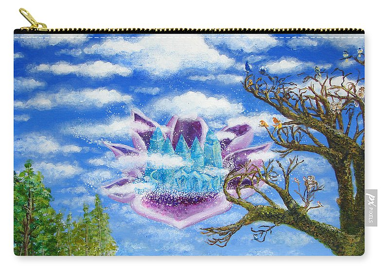 Blue Carry-all Pouch featuring the painting Crystal Hermitage Castle In The Clouds by Ashleigh Dyan Bayer