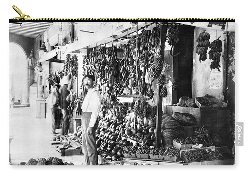 1910 Carry-all Pouch featuring the photograph Cuba Fruit Vendor C1910 by Granger