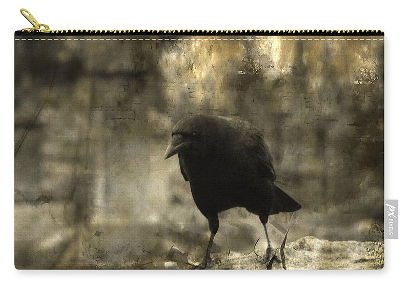 Crow Photograph Carry-all Pouch featuring the photograph Curiosity Of The Graveyard Crow by Gothicrow Images