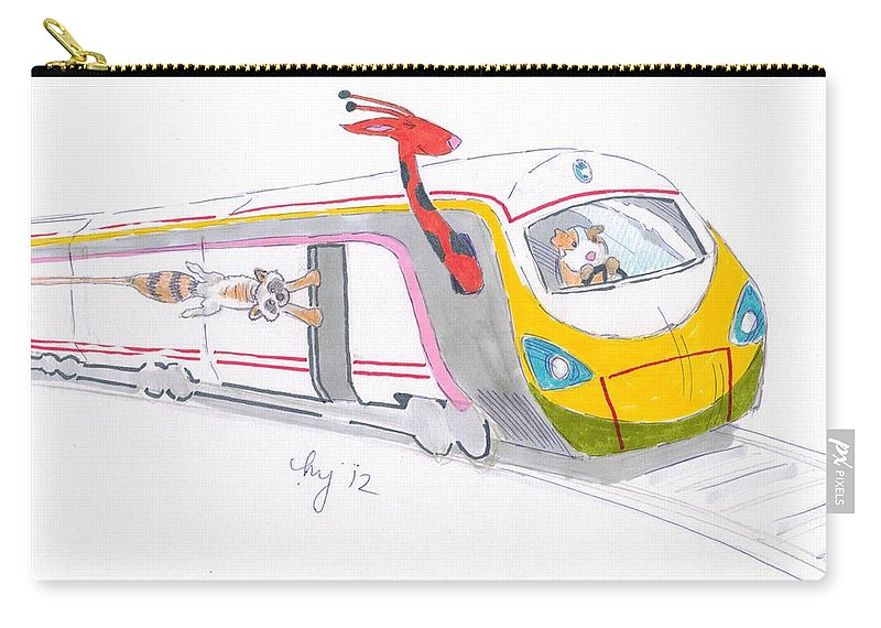 Train Carry-all Pouch featuring the drawing Cute Cartoon High Speed Train And Animals by Mike Jory