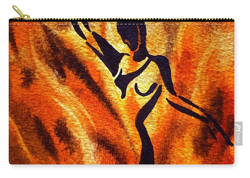 Abstract Carry-all Pouch featuring the painting Dancing Fire Vii by Irina Sztukowski