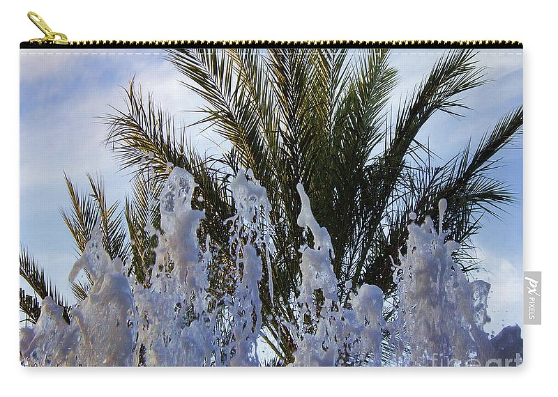 Palm Tree Carry-all Pouch featuring the photograph Dancing Fountain by Mariola Bitner