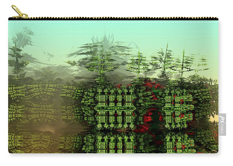 Digital Digital Art Carry-all Pouch featuring the digital art Dancing Trees On Alien Cliffs by Richard Ortolano