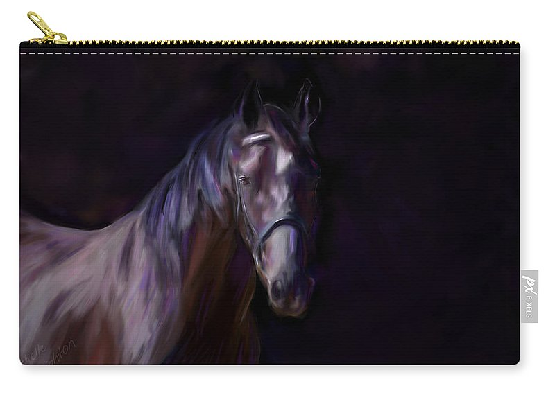Horse Carry-all Pouch featuring the painting Dark Horse by Michelle Wrighton