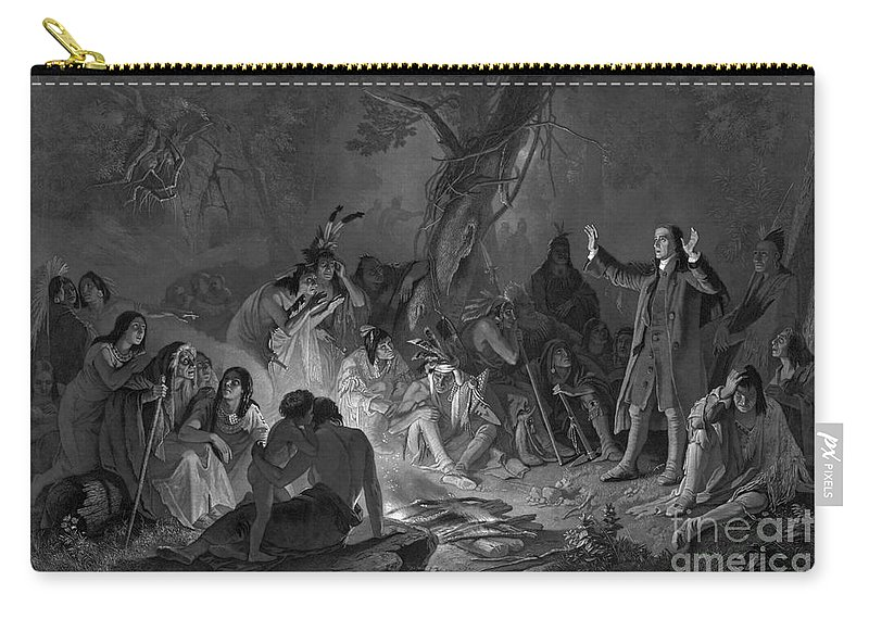 18th Century Carry-all Pouch featuring the photograph David Zeisberger by Granger