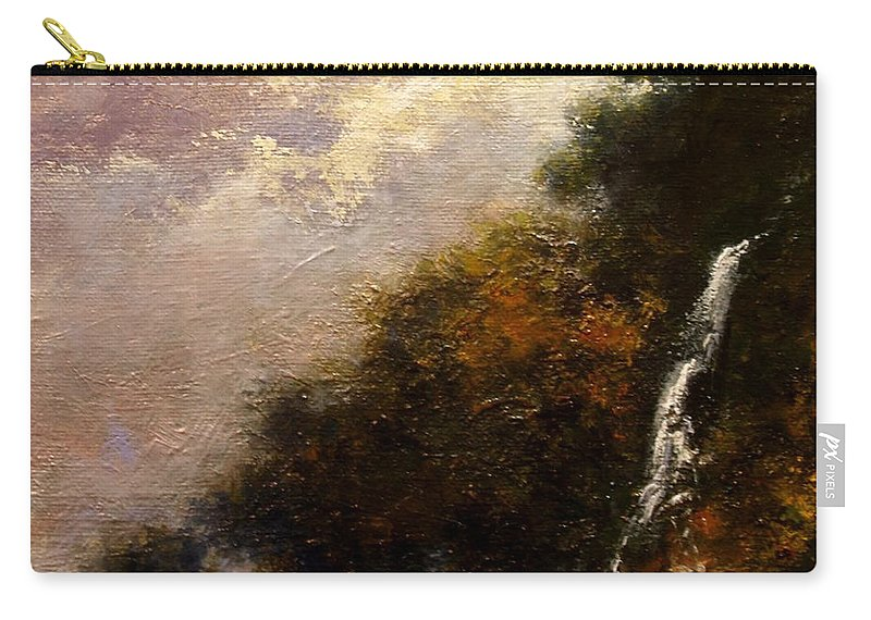 Landscape Carry-all Pouch featuring the painting Daybreak Falls by Jim Gola