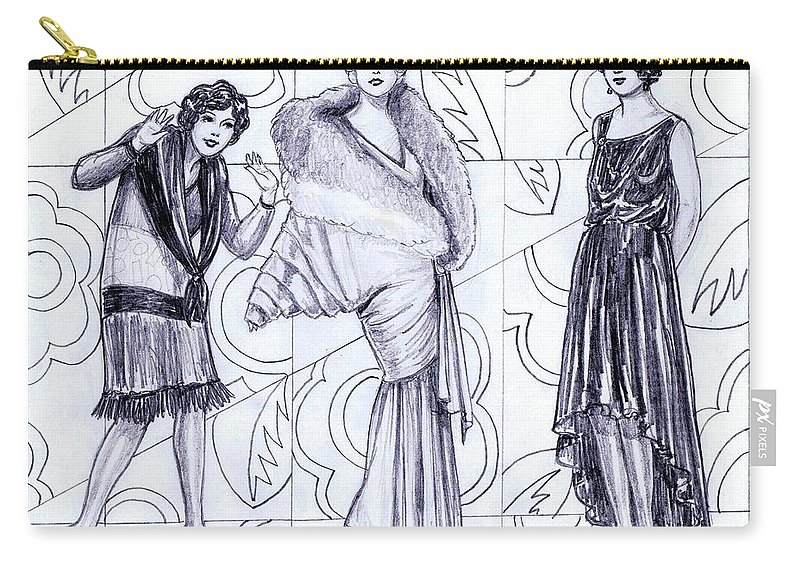 Nostalgia Carry-all Pouch featuring the drawing Deco Fashions by Mel Thompson