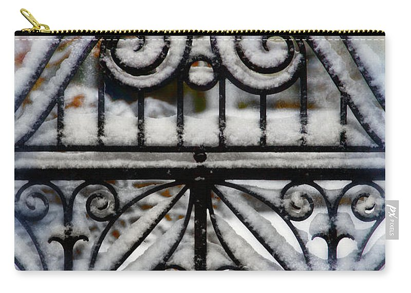 Home Carry-all Pouch featuring the photograph Decorative Iron Gate In Winter by Jill Battaglia